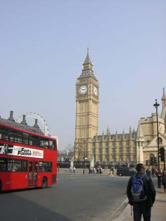 Big Ben en rode dubbeldekker in Londen