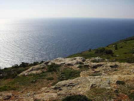 Uitzicht over zee bij Dingli Cliffs