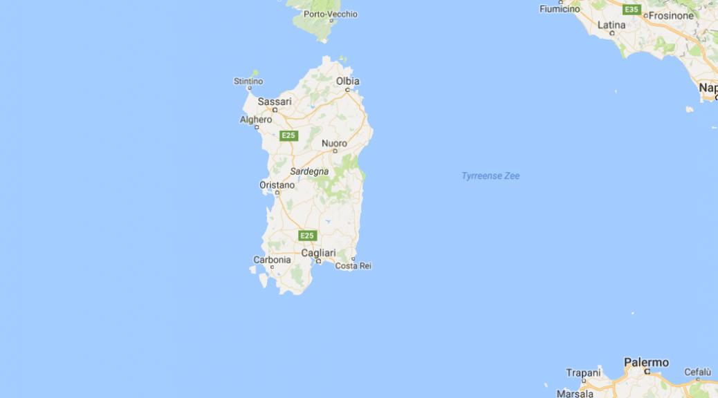 Sardinië op de kaart