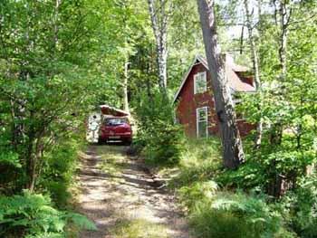 Vakantiehuisje Zweden Asljunga oprit