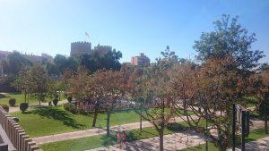 Uitzicht over het Jardín del Turia, het Turiapark, een sportief park