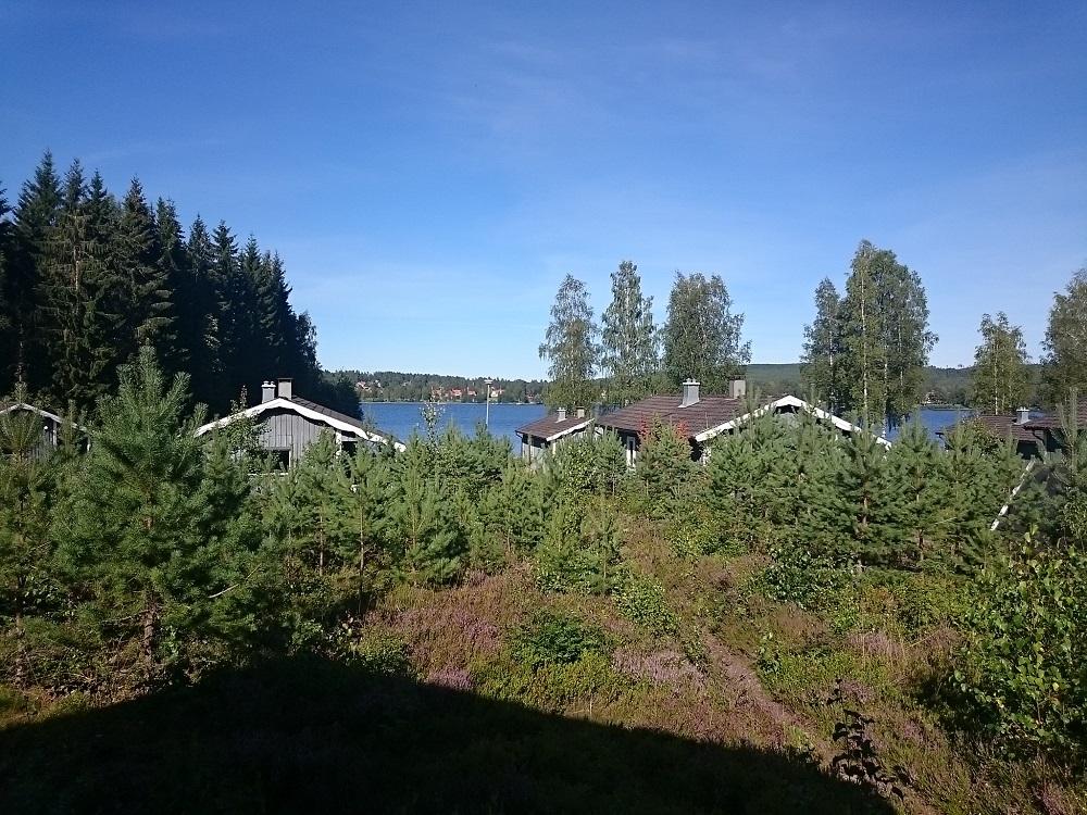 Het uitzicht van ons vakantiehuisje in het vakantiepark Björnbyn in Råda, in de provincie Värmland.